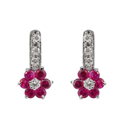 CZ Collections Flower Cubic Zirconia and Sterling Silver Earrings