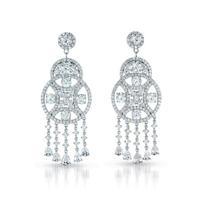 Circle Cubic Zirconia Diamond Dangling Earrings
