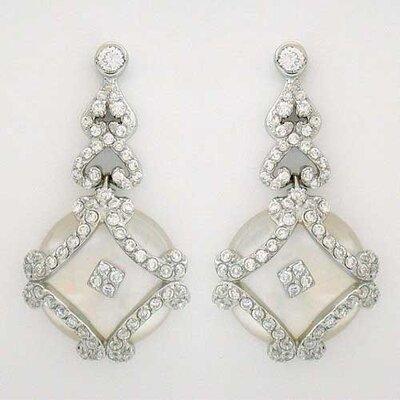 Square Cubic Zirconia Mother of Pearl Earrings