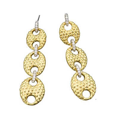 CZ Collections Cubic Zirconia Graduated Hammered Link Earrings