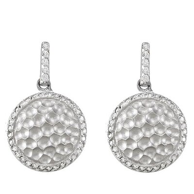 CZ Collections Round Hammered Cubic Zirconia Earrings