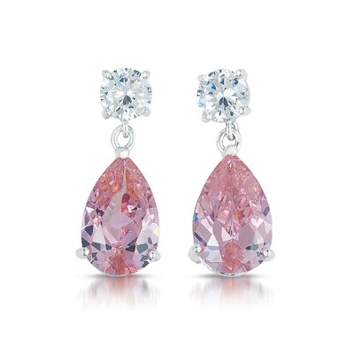Large Pear Shape Cubic Zirconia Drop Earrings
