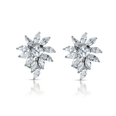 Princess Marquise-Shaped Cubic Zirconia Diamond Cluster Earrings