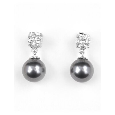 CZ Collections Cubic Zirconia and Pearl Earrings