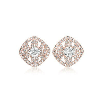 CZ Collections Cubic Zirconia Diamond Shape Earrings