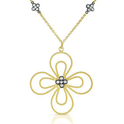 Rozzato Flower Cubic Zirconia Plated Necklace