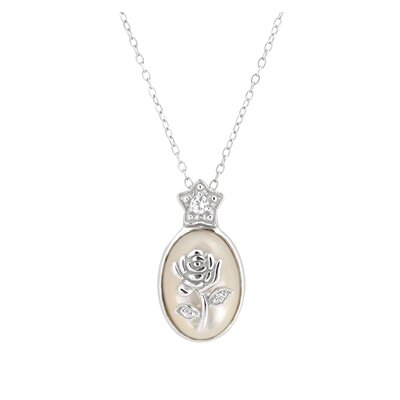 CZ Collections Cubic Zirconia Oval Flower Pendant