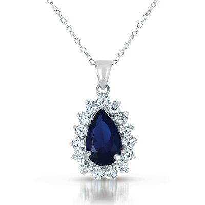 CZ Collections Cubic Zirconia and Sapphire Pear Shape Pendant