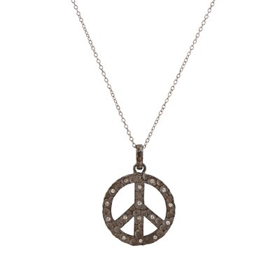 Cubic Zirconia Hammered Plated Peace Sign Pendent