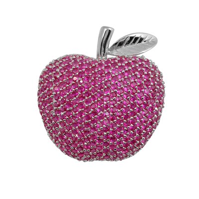 CZ Collections Cubic Zirconia and Ruby Apple Pin