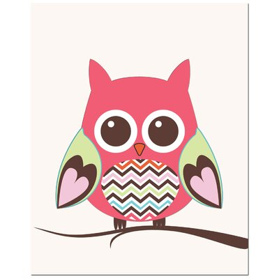 Secretly Designed Zig Zag Belly Owl on Tree Canvas Art