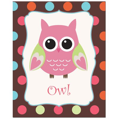 Secretly Designed Solid Color Owl with Polka Dot Back Ground Art Print