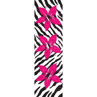 Flower with Zebra Print Wall Decal Growth Chart