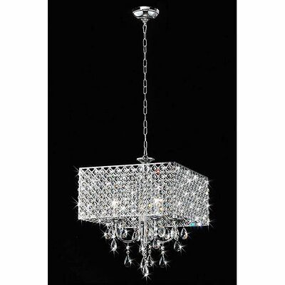 4 Light Square Crystal Chandelier