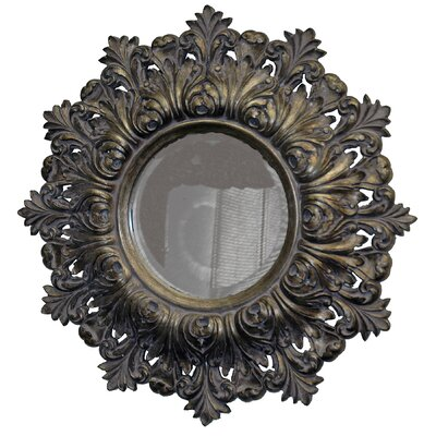 Shield of Arms Round Framed Mirror in Antique Silver