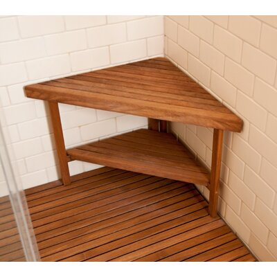 Teakworks4u Deluxe Teak Corner Shower Bench With Optional Shelf Reviews Wayfair
