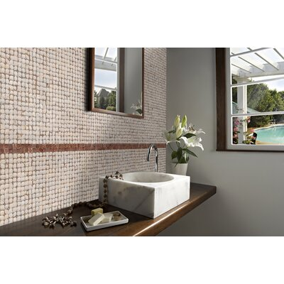 "Cocomosaic 17"" x 17"" Coconut Mosaic Tile in White Patina"