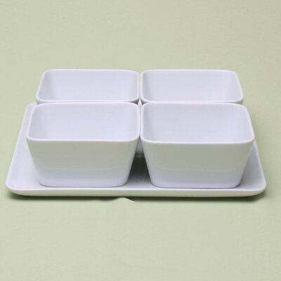 TAG Whiteware Square Bowl with Tray (Set of 4)
