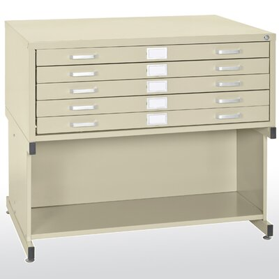 "Sandusky Cabinets 46.75""W  5 Drawer Flat File with Open Base"