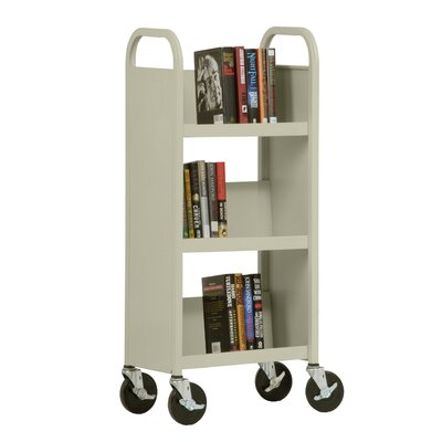 "Sandusky Cabinets 17"" W Single Sided Sloped-Shelf Mobile Book Truck in Putty"