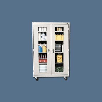 Sandusky Cabinets Transport Clear View Four Shelf Extra Large Mobile Storage - 78&quot; x 46&quot; x 18&quot;