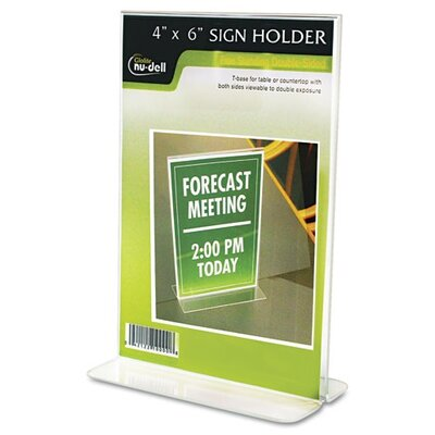 Glolite Nudell LLC Clear Plastic Sign Holder, Free-Standing