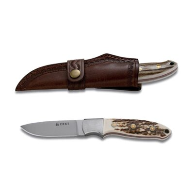 Kommer Brow Tine Stag Handle Leather Sheath Knife