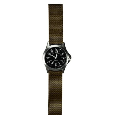Classic 24 Hour Military Field Watch with Khaki Nylon Strap