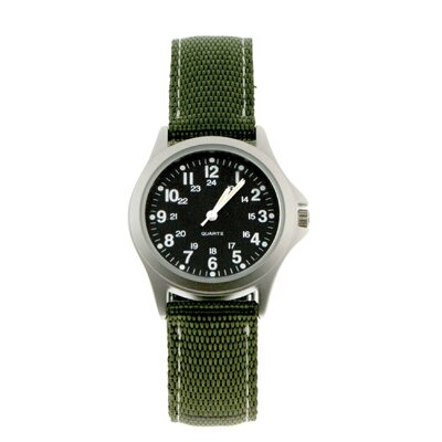 RAM Instrument Classic 24 Hour Rugged Military Field Watch with Green Nylon Strap