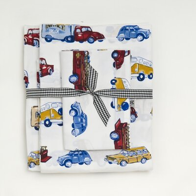 Whistle and Wink Cars and Trucks 240 Thread Count Sheet Set