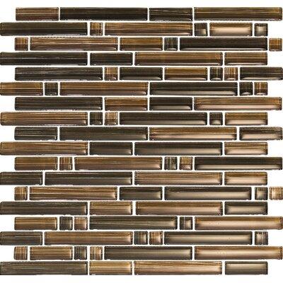 Brushstrokes Marrone Random Sized Mosaic in Brown Multi