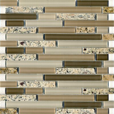 "Epoch Architectural Surfaces Spectrum Desert Gold 12"" x 12"" Random Stone and Glass Blend Mosaic in Beige Multi"