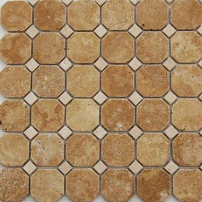 Epoch Architectural Surfaces Noce Random Sized Hexagon Honed Travertine Mosaic in Brown