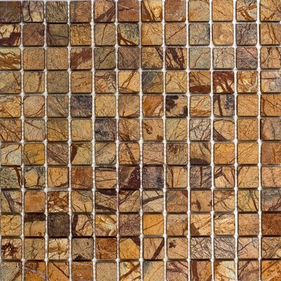 "Epoch Architectural Surfaces 12"" x 12"" Tumbled Marble Mosaic in Rain Forest Brown"
