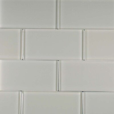 "Epoch Architectural Surfaces Cloudz Stratocumulus 12"" x 12"" Glass Subway Tile in Gray"