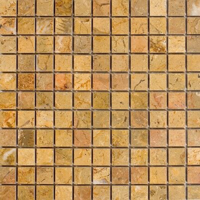 "Epoch Architectural Surfaces 12"" x 12"" Polished Marble Mosaic in Sahara Gold"