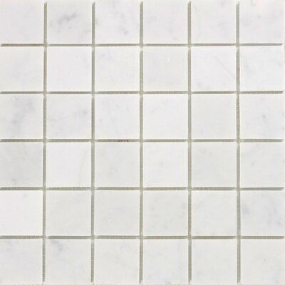 "Epoch Architectural Surfaces 12"" x 12"" Polished Marble Mosaic in White Carrara"