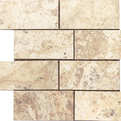 "Epoch Architectural Surfaces 12"" x 12"" Porcelain Subway Mosaic in Beige Travertine"