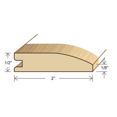"Moldings Online 0.5"" x 2"" Solid Hardwood Bamboo Natural Horizontal Reducer in Unfinished"