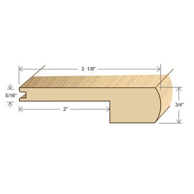 "Moldings Online 0.75"" x 3.38"" Solid Hardwood Avodire Stair Nose in Unfinished"