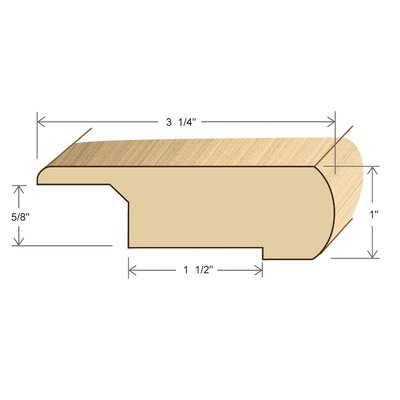"Moldings Online 1"" x 3.25"" Solid Hardwood White Oak Overlap Stair Nose in Unfinished"