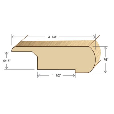 "Moldings Online 0.88"" x 3.13"" Solid Hardwood Acacia Stair Nose Overlap in Unfinished"