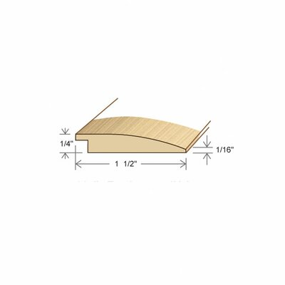"Moldings Online 0.27"" x 1.5"" Solid Hardwood Maple Reducer in Unfinished"