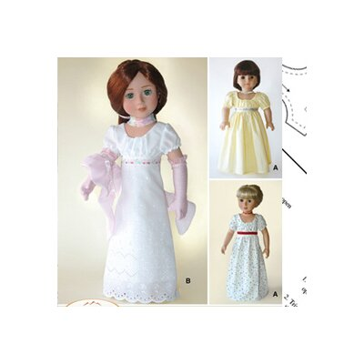 Carpatina Clothes Pattern Doll Empire Dress and Gloves