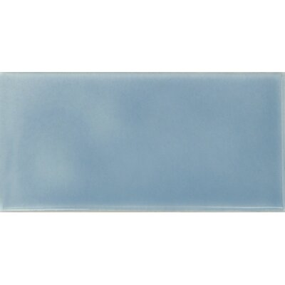 "Solistone Hand-Painted Ceramic 6"" x 3"" Glazed Two Side Bullnose - Right Tile Trim in Cancun"