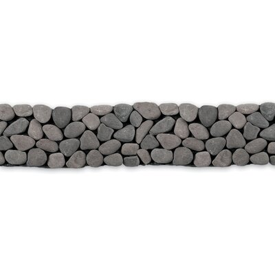 "Solistone Decorative Pebbles 39"" x 4"" Interlocking Border Tile in River Gray"