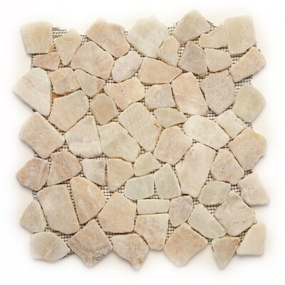 Decorative Pebbles Random Sized Interlocking Mesh Tile in Alor Crystal