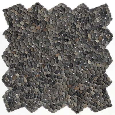 Decorative Pebbles Random Sized Interlocking Mesh Tile in Barbados Black