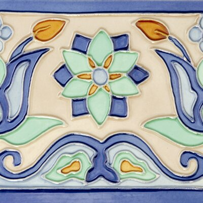 "Solistone Mission 6"" x 6"" Hand-Painted Ceramic Decorative Tile in Tulips"
