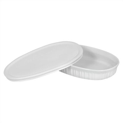 Corningware French White 23 oz. Oval Dish with Plastic Cover